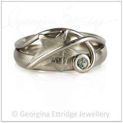 Ivy Leaf & Curled Tendril Ring - small green sapphire