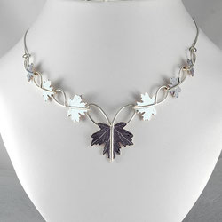 Maple Leaves Linking Necklace in Sterling Silver