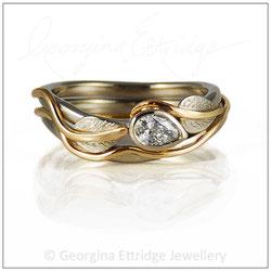 Pear Shaped Diamond Leaves Ring