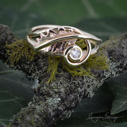 Oak Leaf Ring - 9ct Yellow & Red Gold