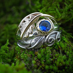 Oak Ring with Acorn Cup Setting, 18ct Gold & Blue Sapphire