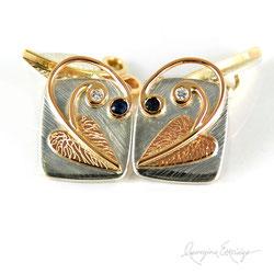 Leaf & Hidden Heart Cufflinks - Valentines & Anniversary