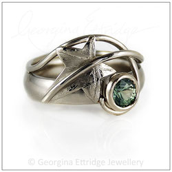 Ivy Leaf & Curled Tendril Ring with Green Sapphire