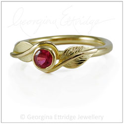 Twirling Leaves 18ct Yellow Gold & Ruby Wedding Ring