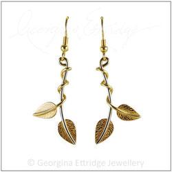 Leaves & Twisting Tendrils Earrings 18ct Gold Bespoke Commission