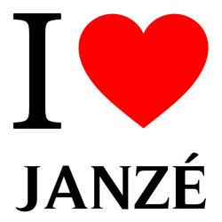 j'aime janzé écrit avec un coeur rouge