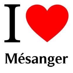 j'aime mésanger écrit avec un coeur rouge