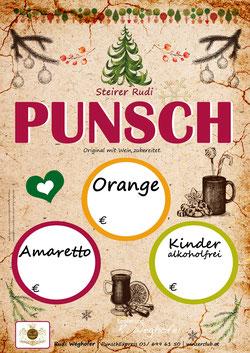 Punsch Plakat- Rudi Weghofer - winzerclub.at - Punschzeit , Orangen Punsch, Amaretto Punsch, Kinder Punsch