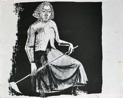 Nr.1932;  Landfrau mit Sense