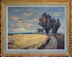 Nr. 1281 Weizenfeld mit Pappeln und Weg
