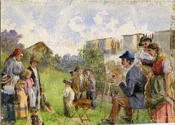 Nr. 1200 B, Maler mit Zuschauer