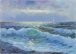 Nr.1941;  Meerwellen und Segelboote