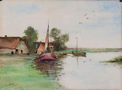 NR.1589 Landschaft mit Segelbooten