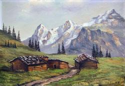 Nr.593  Bei Mürren mit Eiger, Mönch, Jungfrau