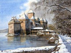 Nr.1157 Hiver au Chateau de Chillon, 1992