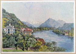 Thun, 9.7.1847 (Aare, Niesen und Blümlisalp)