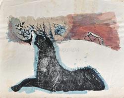 Nr.1933;  Liegende Löwin wittert eine Gazelle
