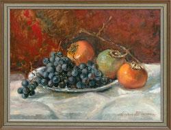 Nr. 3500 Stilleben Trauben und Granatäpfel