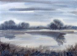 Nr. 2777 Wasserlandschaft mit Schilf und Bäumen