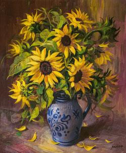 Nr. 2239  Sonnenblumen im Steingut-Krug