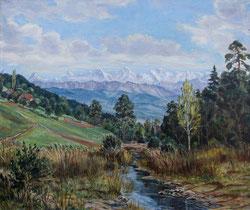 Nr.665 Landschaft mit Berner Alpen