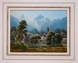 Nr. 1390 Kirche Unterseen mit Mönch und Jungfrau