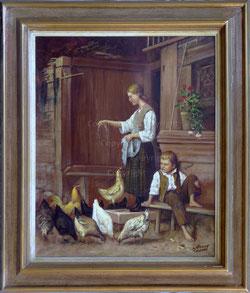 Nr.1973; Die Hühnerfütterung nach A.Anker