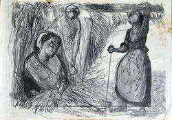 Nr.1931; Drei Landfrauen bei der Feldarbeit