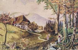 Bauernhaus am Bach mit zwei Mägden   1918  45 x 35 cm  Oel