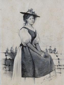 Nr.597 Trachtenfrau VD anno 1900