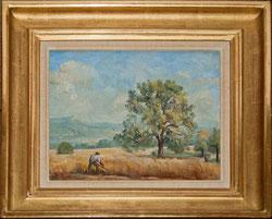 Nr.1852; Landszene, Bauer mit Sense schneidet Getreide.