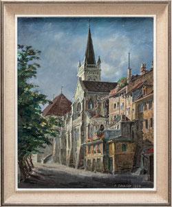 Nr. 3240 Altstadt Bern, Brunngasshalde, Christkatholische Kirche und Rathaus.