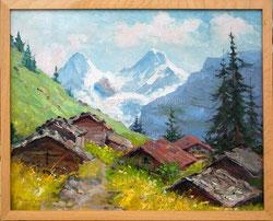 Nr. 1493 vermutlich Gimmelwald mit Eiger und Mönch