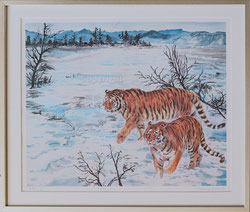 Nr. 2150 Zwei Tiger in Winterlandschaft