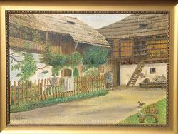 Bauernhof mit Hühner. Oelbild 33 x 47 cm/ 1918
