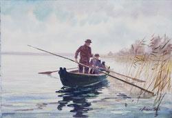 Nr. 1792 Fischer auf dem Bielersee