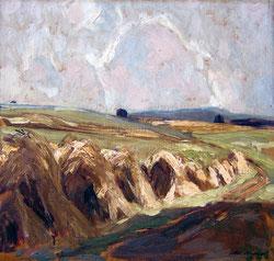 No.0101;  Landschaft mit Strohgarben, Gewitterstimmung
