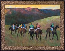 Nr. 2942 Rennpferde in einer Landschaft