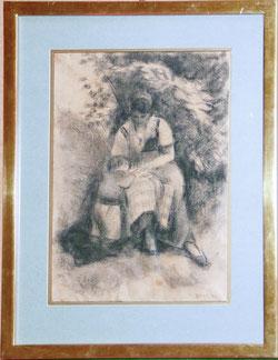 Nr.575 Emilie Urech mit Töchterchen Marta im Garten in Binningen, BL