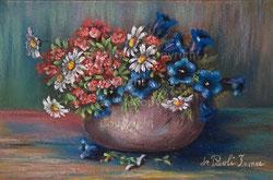 Nr.1386 Alpenblumen in braunem Topf