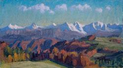 Blick vom Gurten ins Berner Oberland