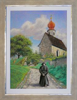 Pfarrer auf dem Weg zur Kapelle (Sargans)