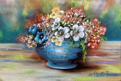 Nr. 1387 Alpenblumen im blauen Topf