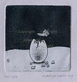 Nr. 2214  Eierschale mit Feder