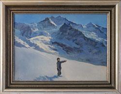 """Nr.2697  Knabe auf Schneefeld vor der """"Jungfrau"""""""