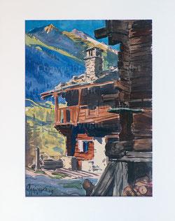 Nr.2196  Walliser Haus mit Brunnen