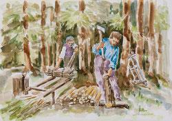 Nr. 439 Holzarbeiter im Wald