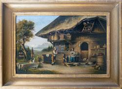 Nr. 1886 Ein Gespräch vor dem Haus. Im Hintergrund Blümlisalp und Thunersee