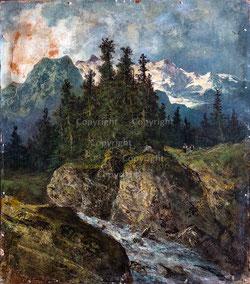 Berglandschaft mit Bach und Figuren