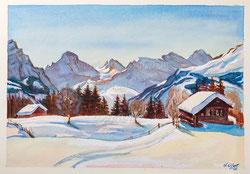 Nr. 2542  Winterpanorama von Wengen gesehen